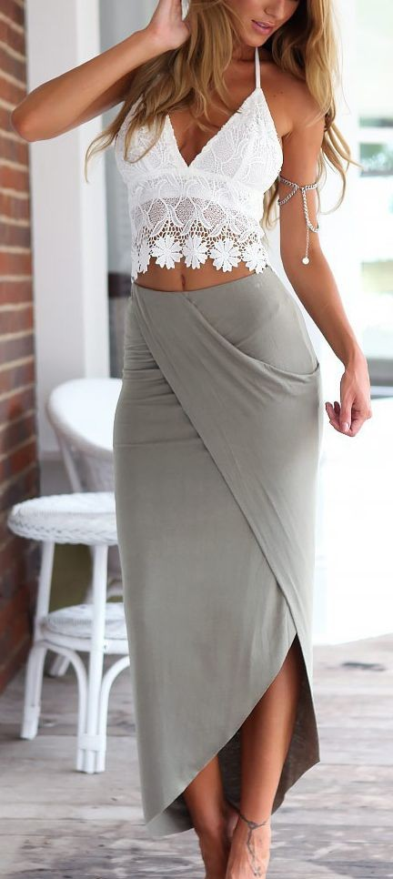 Help me find a similar white crochet cami crop top with grey wrap skirt - SeenIt