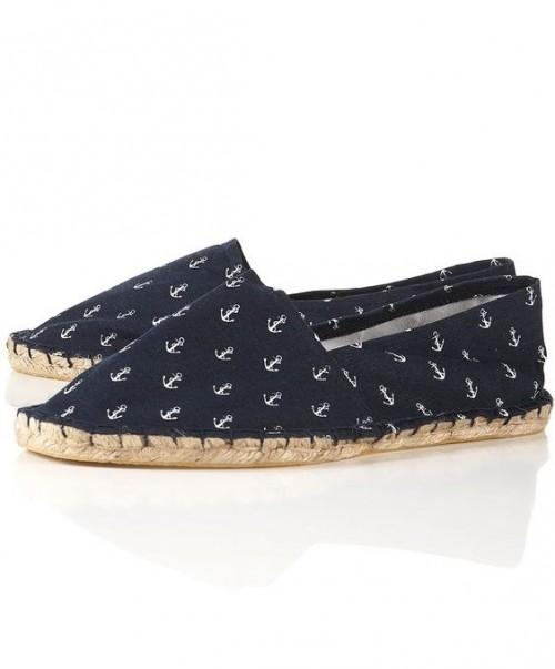Looking for these navy blue anchor printed espadrilles. - SeenIt