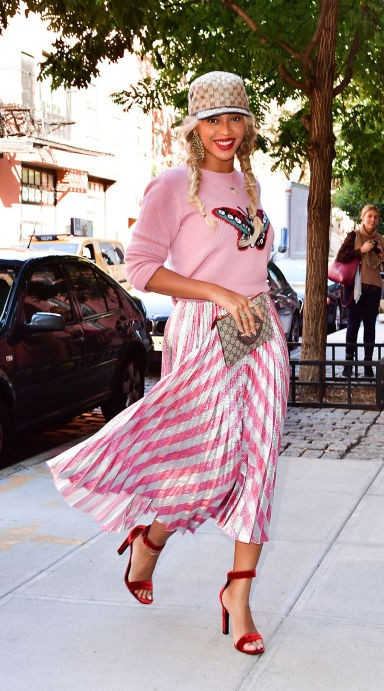 Looking for this pink top along with pink white pleated maxi skirt that Beyonce is wearing - SeenIt