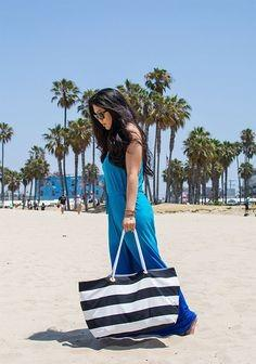 Looking for similar white blue striped beach bag - SeenIt