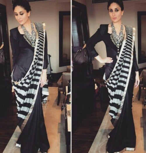 looking for a similar saree,please help me find out this one worn by bebo - SeenIt