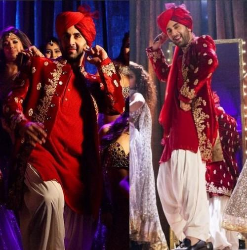Looking for similar red embroidered sherwani that Ranbir Kapoor is wearing - SeenIt