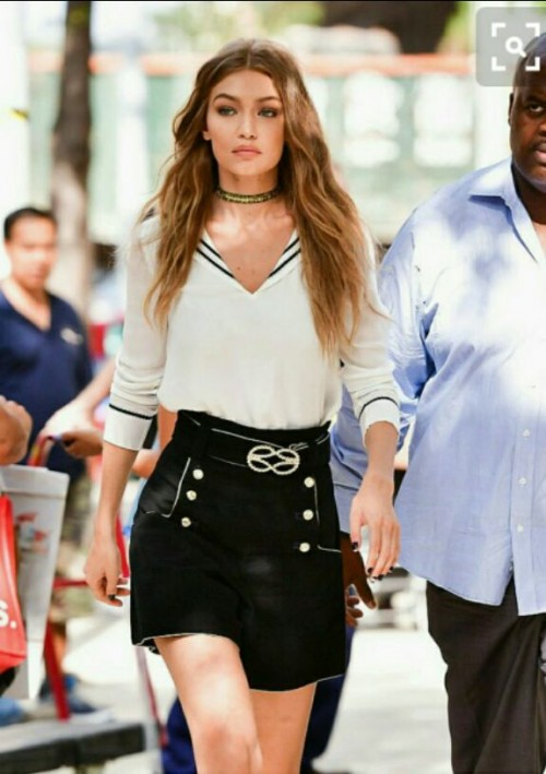 Want the white top, black skirt and choker which Gigi Hadid is wearing - SeenIt