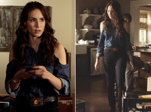 Looking for similar navy blue coldshoulder shirt that Spencer Hastings is wearing - SeenIt