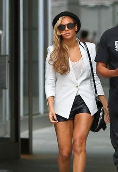 Looking for this white top with jacket and black shorts that Beyonce is wearing - SeenIt