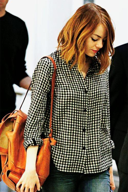 50997d6acb7cd6 Can you help me find a similar black and white checkered shirt like Emma  Stone is