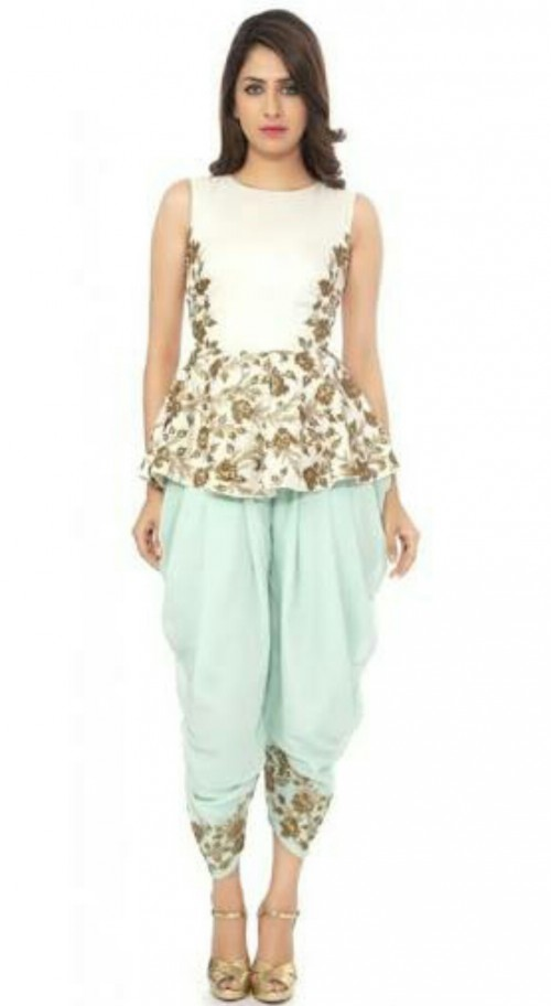 I'm looking for a similar peplum top with dhoti pants in any colour - SeenIt