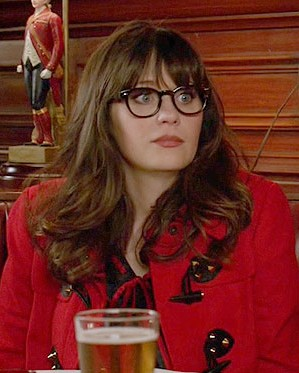 find me a similar red coat and glasses like jess is wearing - SeenIt