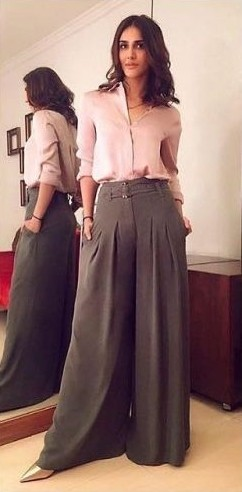 Looking for a pink shirt and grey flared pants like Vaani Kapoor's. - SeenIt
