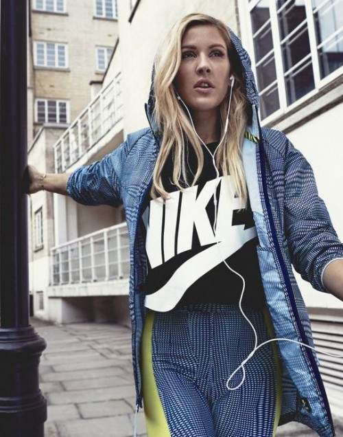 Can you help me find a black nike top similar to the one Ellie Goulding is wearing? - SeenIt