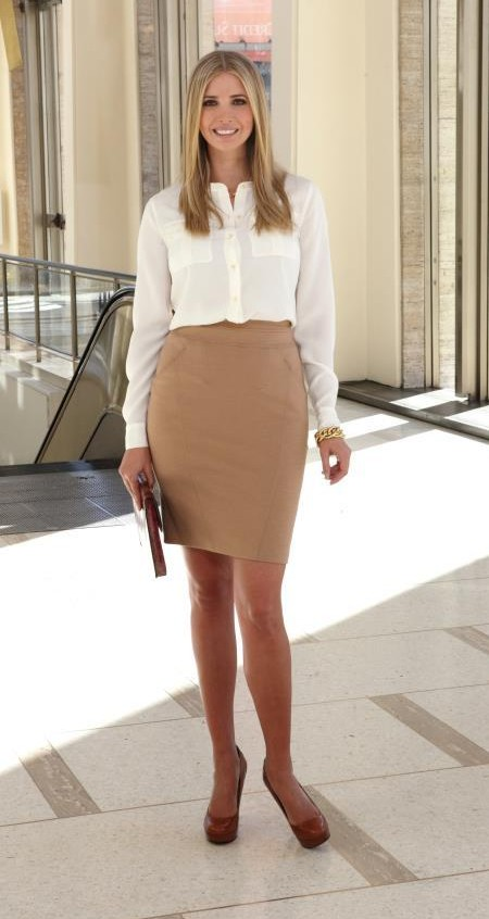 82593ed94d17fb Looking for this white shirt and beige pencil skirt that Ivanka Trump is  wearing - SeenIt