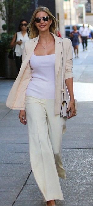 Looking for this ivory flared pants and blazer that Ivanka Trump is wearing - SeenIt