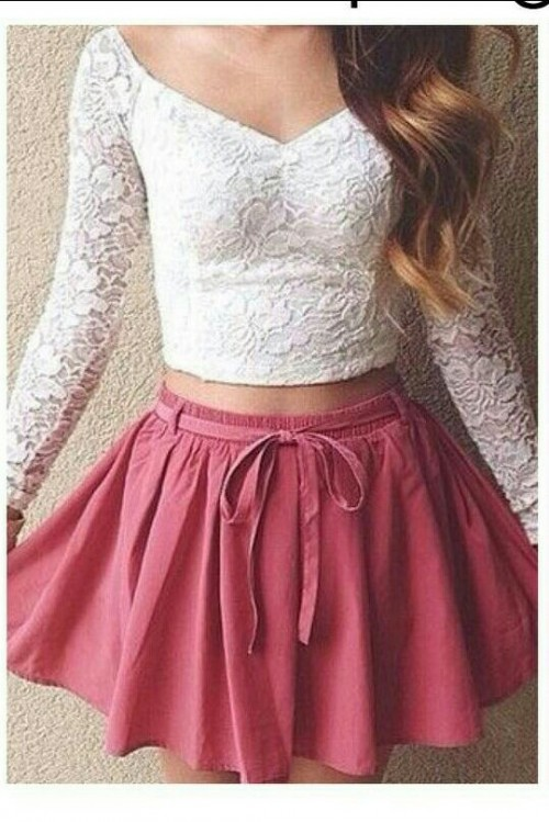 Want the white lace top and and pink flared skirt - SeenIt