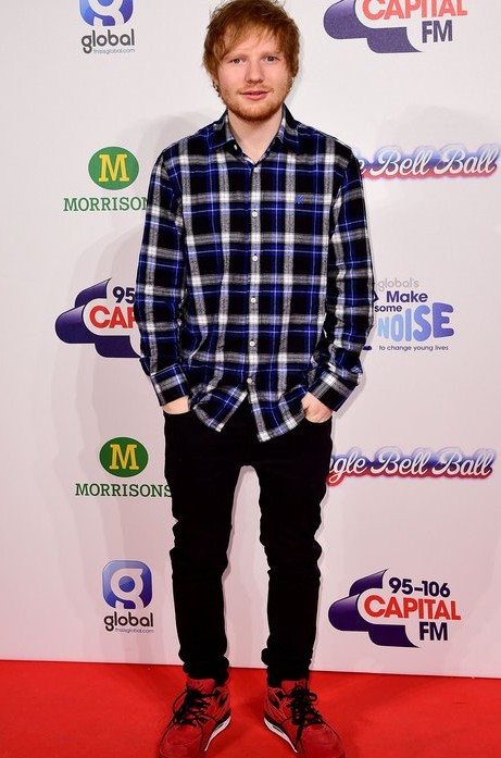 Looking for the blue checked shirt that Ed Sheeran is wearing along with the black jeans and red shoes. - SeenIt