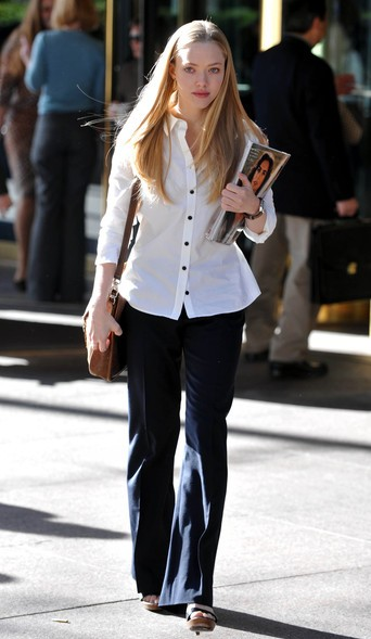 Want a similar white shirt and navy blue flared pants that Amanda Seyfried is wearing. - SeenIt