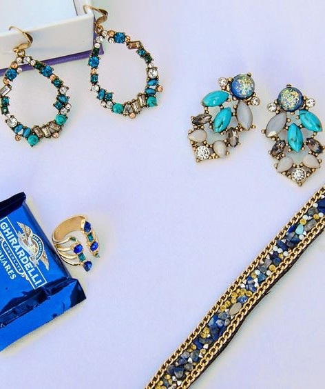 Find me everything!! blue and white crystal earrings, golden and blue crystal ring and choker. - SeenIt