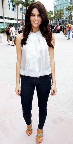 Need a similar white sleeveless ruffled top like Ashley Greene is wearing along with the navy blue jeans. - SeenIt