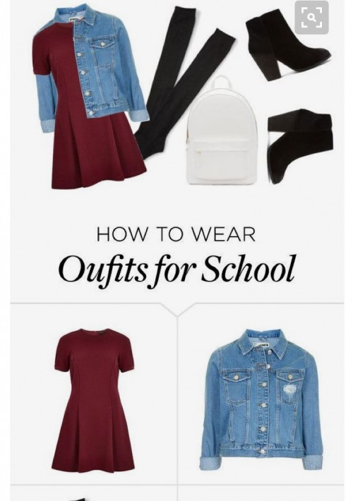 Want the maroon dress, denim jacket, black boots, white backpack - SeenIt