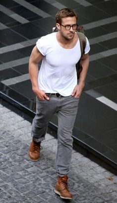 Looking for this white tee with grey pants and tan shoes like Ryan Reynolds - SeenIt