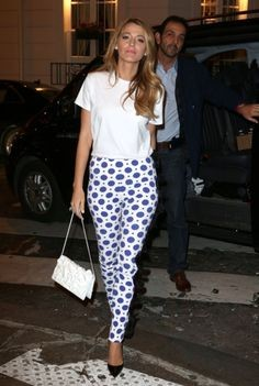 Looking for this white top and white blue printed pants that Blake Lively is wearing - SeenIt
