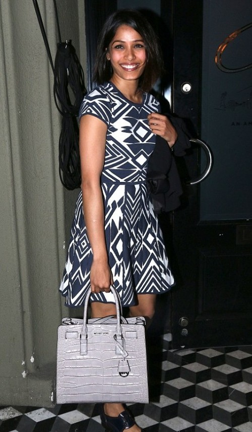Find me Freida Pinto's similar navy blue and white aztec print flared dress. - SeenIt