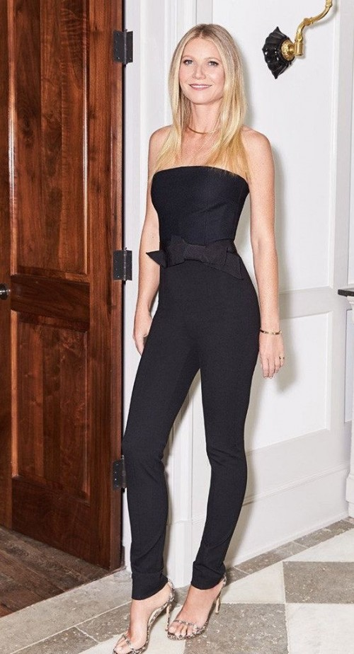 Looking for the black strapless jumpsuit that Gwyneth Paltrow is wearing. - SeenIt