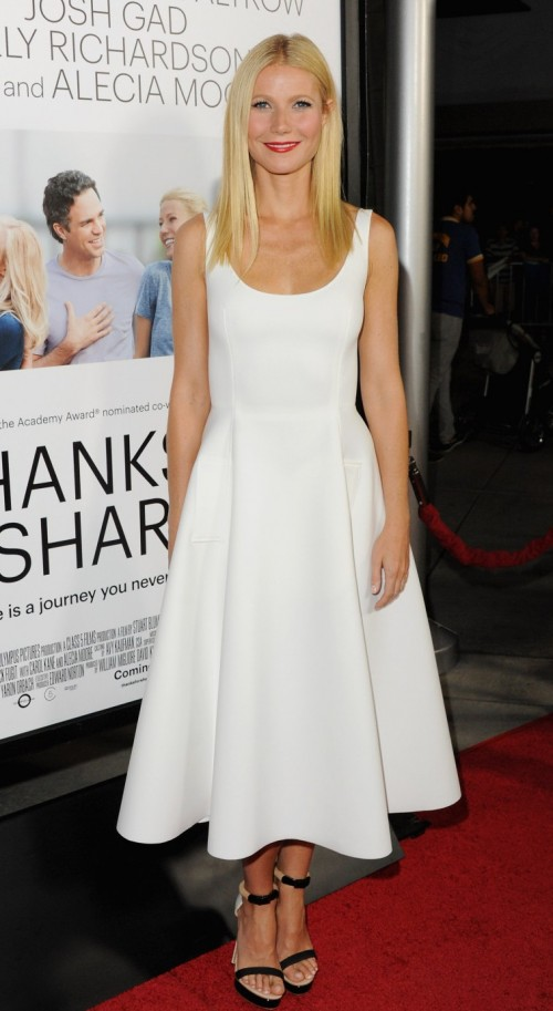 Want this white midi flared dress that Gwyneth Paltrow is wearing. - SeenIt