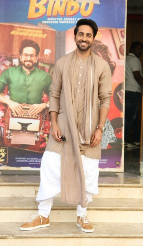 Yay or Nay? Ayushmann Khurrana wearing this khaki kurta set with khaki sneakers - SeenIt