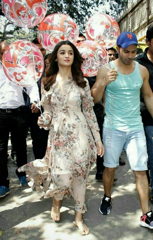 Want the floral dress that Alia Bhatt is wearing along with the shoes - SeenIt