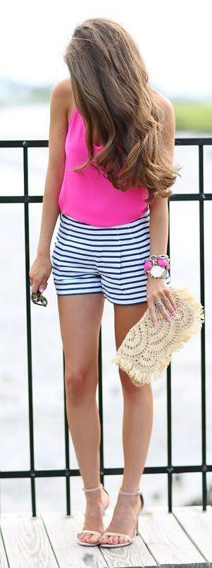 Want the pink top, white striped shorts and the anklestrap heels - SeenIt