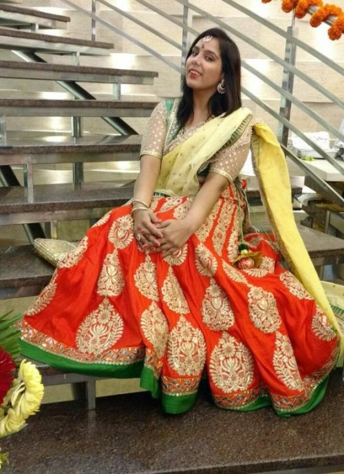 Find me this orange and green embroidered lehenga please!! - SeenIt