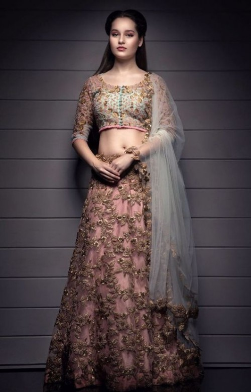 Looking for this beautiful mint and peach embroidered lehenga. - SeenIt