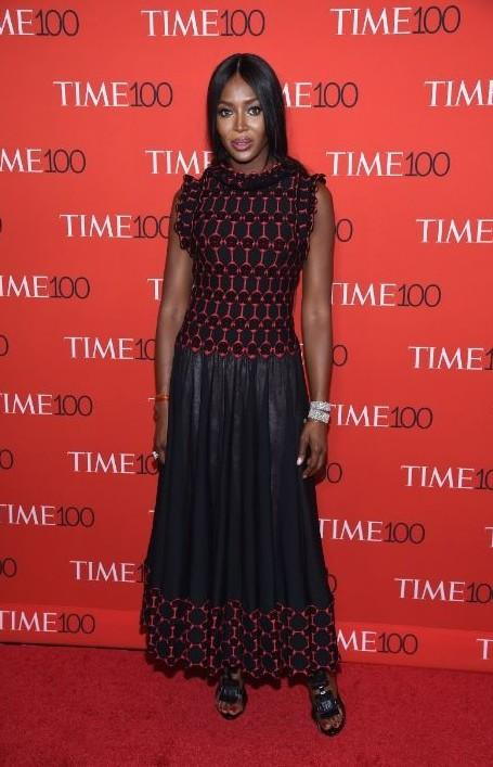 Yay or Nay? Naomi Campbell in Azzedine Alaia black and red patterned maxi dress at the Time 100 Gala 2017. - SeenIt