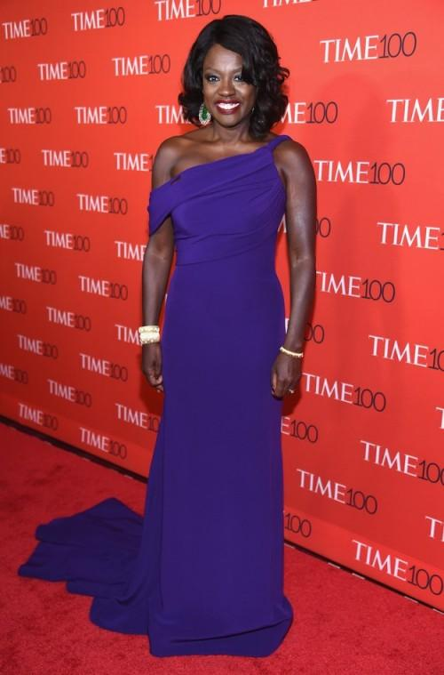 Yay or Nay? Viola Davis in a navy blue one shoulder gown at the Time 100 Gala 2017. - SeenIt