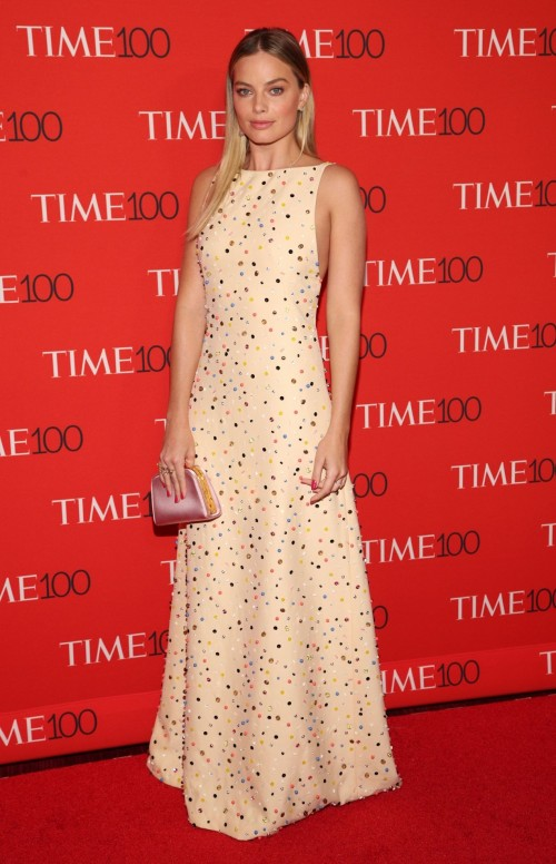 Yay or Nay? Margot Robbie in a simple elegant stone embellished Prada gown at Time 100 Gala 2017. - SeenIt