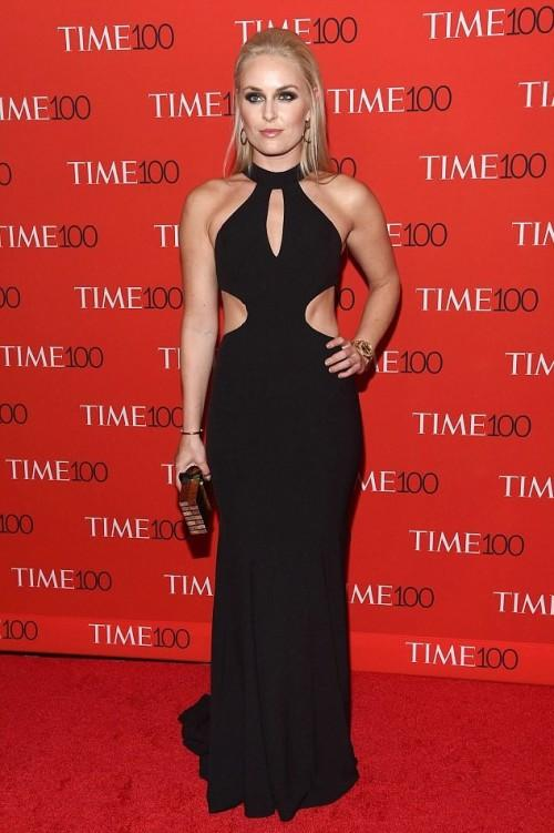Yay or Nay? Gold medalist ski racer Lindsey Vonn in a black cut out halter neck gown at the Time 100 Gala 2017. - SeenIt