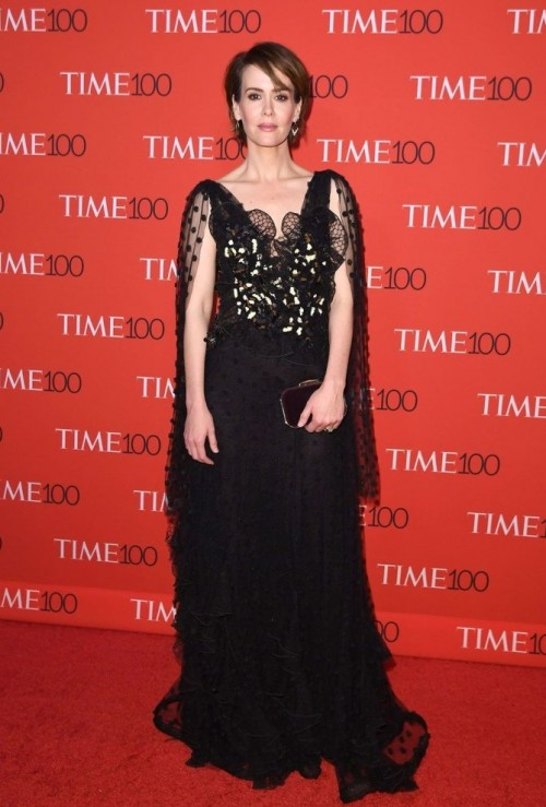 Yay or Nay? Sarah Paulson in Rodarte black sheer embellished cape gown with ruffles at the Time 100 Gala 2017. - SeenIt