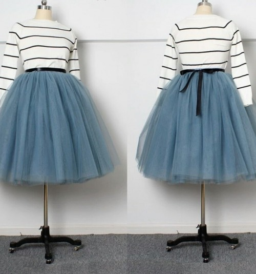 Looking for a similar striped top and grey tulle skirt - SeenIt