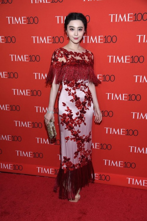 Yay or Nay? Fan Bingbing in a pink and red floral tasseled maxi dress at the Time 100 Gala 2017. - SeenIt