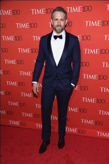 Yay or Nay? Ryan Reynolds in a navy blue tuxedo suit at the Time 100 Gala 2017. - SeenIt