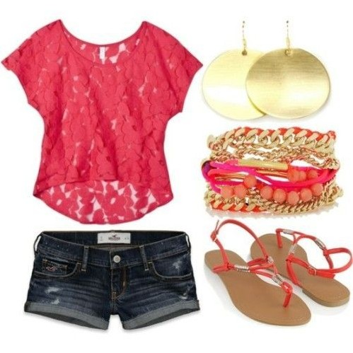 Want the lace red top with blue denim shorts, the gold earrings and bracelet - SeenIt
