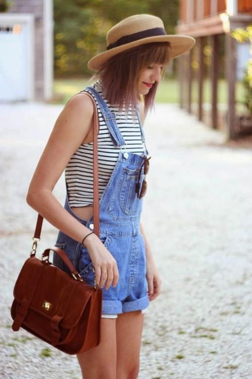 Want the white stripes crop top and blue denim dungaree - SeenIt