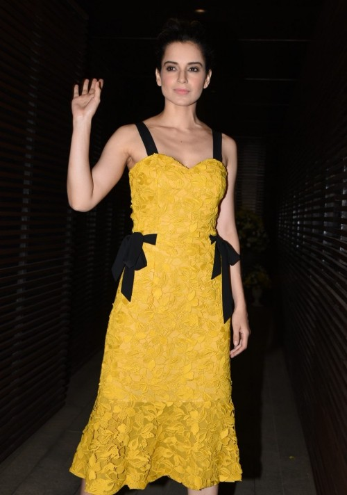 Yay or Nay? Kangana Ranaut killed it in a yellow  embroidered midi dress at PC's homecoming bash. - SeenIt