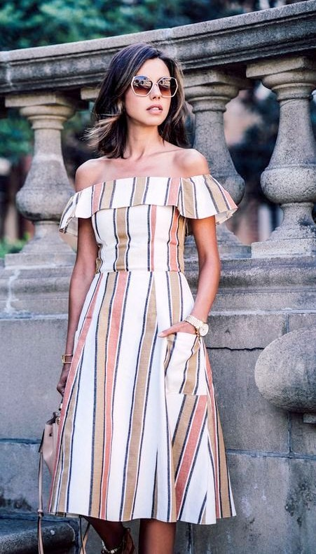 Looking for the exact striped off shoulder dress! TIA - SeenIt