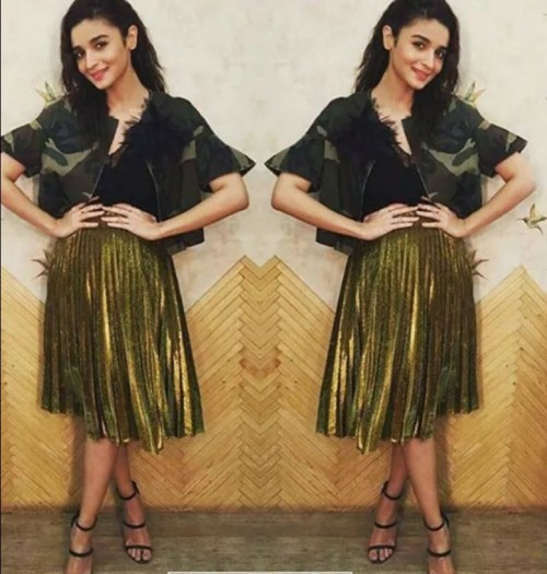 Want the camo print jacket, black top, metallic midi skirt and black stilettos which Alia Bhatt is wearing - SeenIt