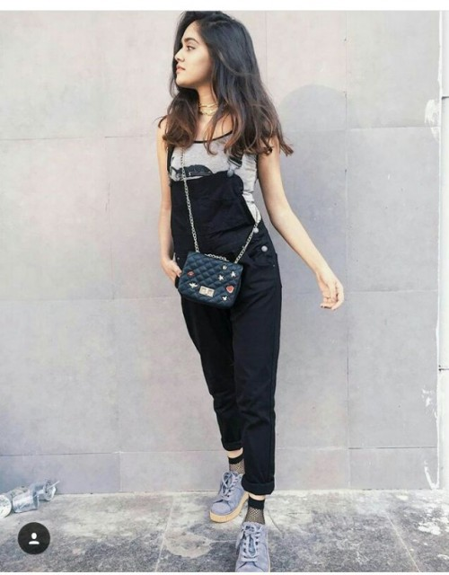 Want the black dungarees , grey top, black quilted sling and sneakers - SeenIt