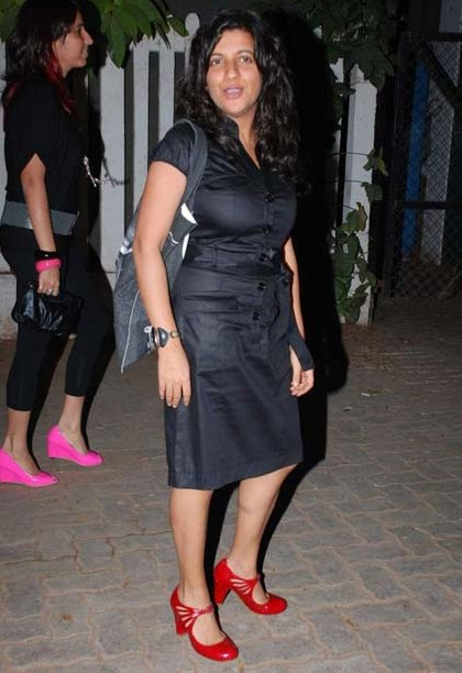 Looking for this black dress with red shoes that Zoya Akhtar is wearing - SeenIt