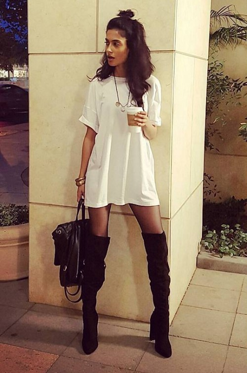 Help me get Sarah Jane Dias's entire look. White tshirt dress, black knee high boots and the neckpiece. - SeenIt