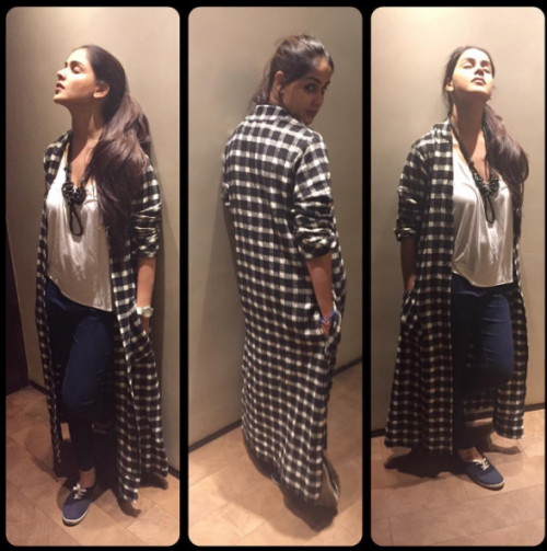 Looking for similar gingham print cape, White t-shirt, blue jeans and shoes that Genelia D'Souza is wearing - SeenIt