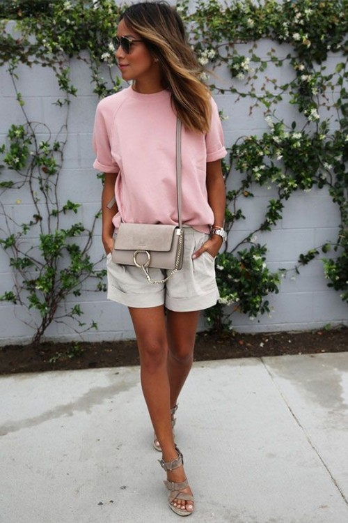 Want this pink top and khaki shorts. Also looking for the sling bag. - SeenIt